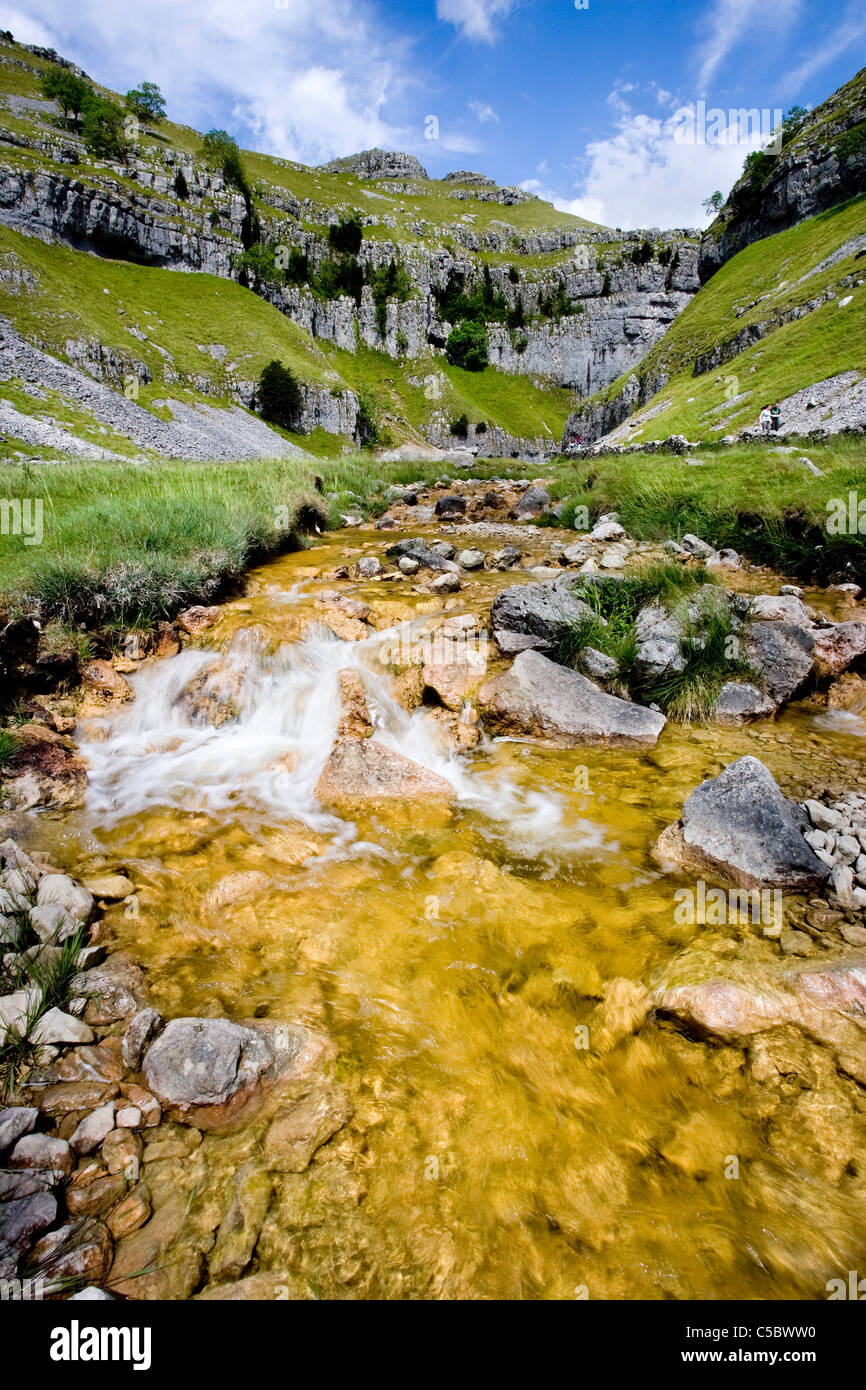 Gordale Beck, looking up the valley to Gordale Scar, Malhamdale, Yorkshire Dales - Stock Image