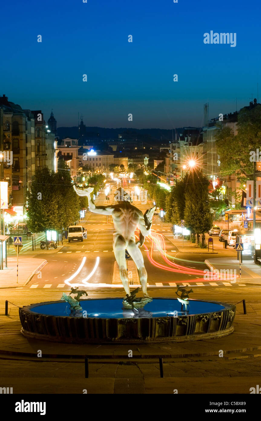 Poseidon at Götaplatsen in Gothenburg avenue at night - Stock Image