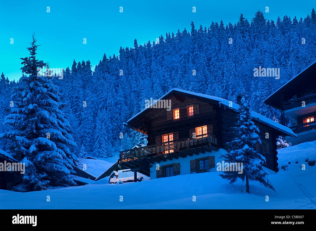 Lights lit in cottages against fir trees at winter evening - Stock Image