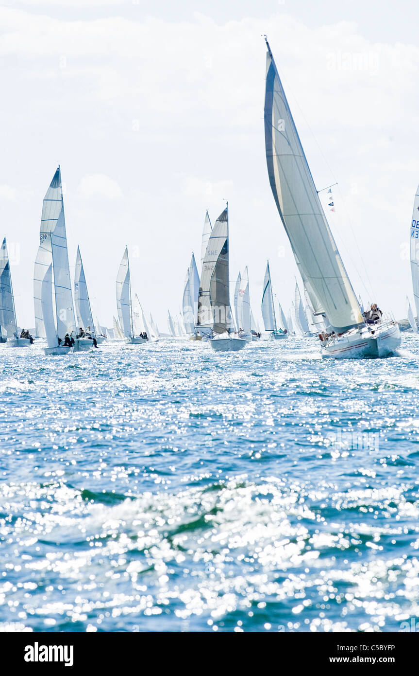 Distance shot of many sailboats during the oceanic race - Stock Image