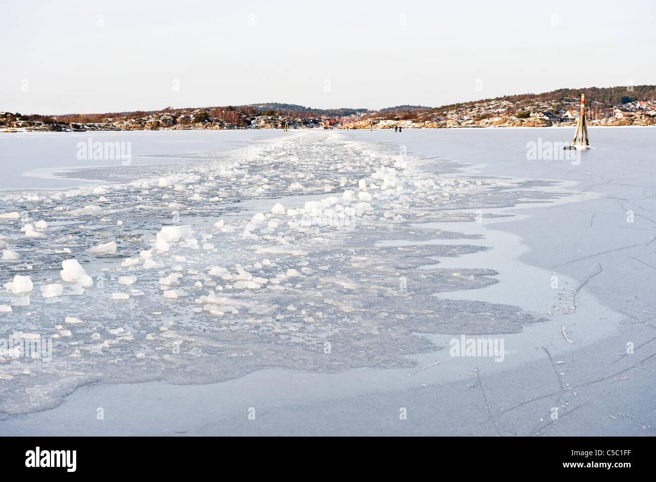 View of frozen icebreaking in the Kattegat against sky, Sweden - Stock Image