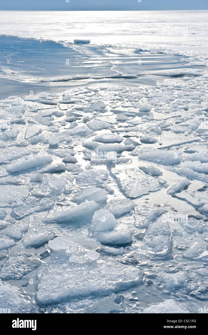 View of frozen icebreaking in the Kattegat, Sweden - Stock Image