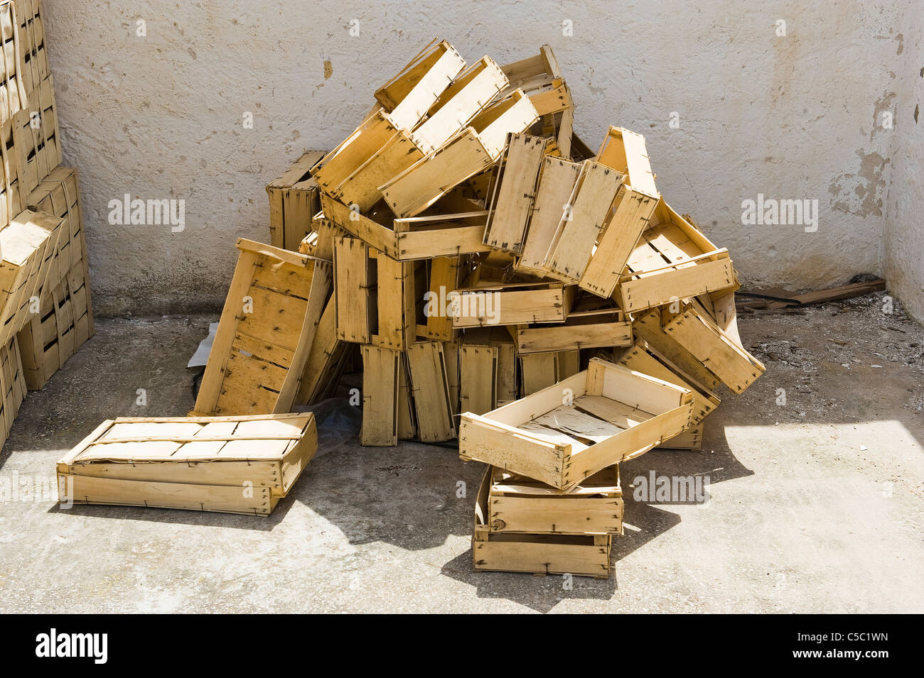 Stack of fish boxes - Stock Image