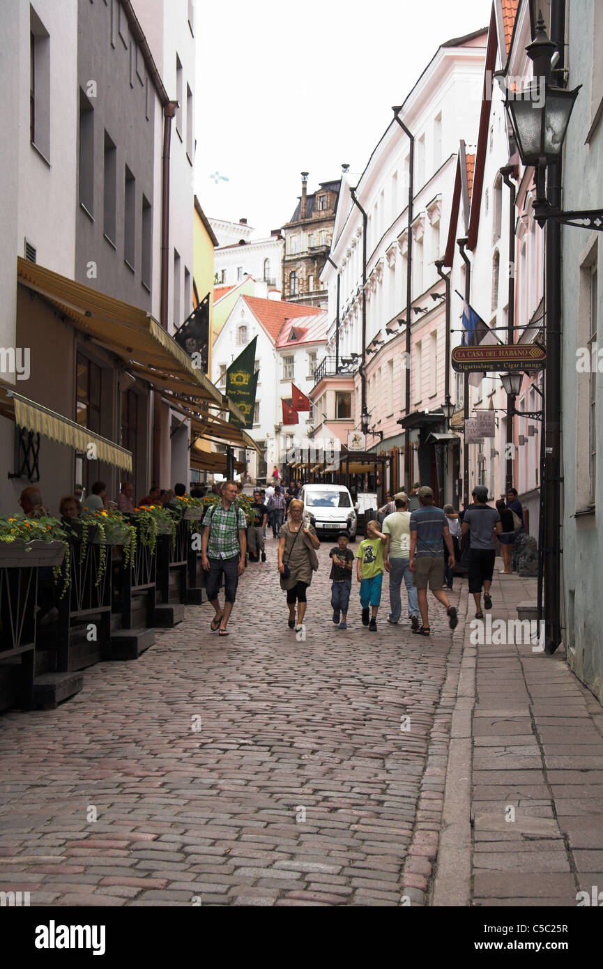 Cobbled street in the Old Town with Toompea Castle in the background, Tallinn, Estonia Stock Photo