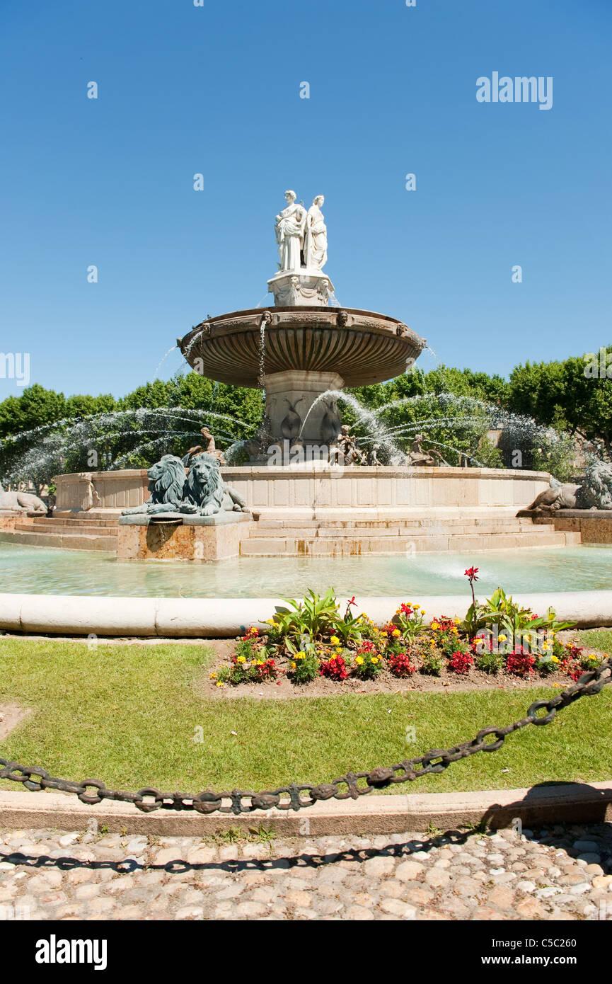 Fountain King René in Aix-en-Provence - Stock Image