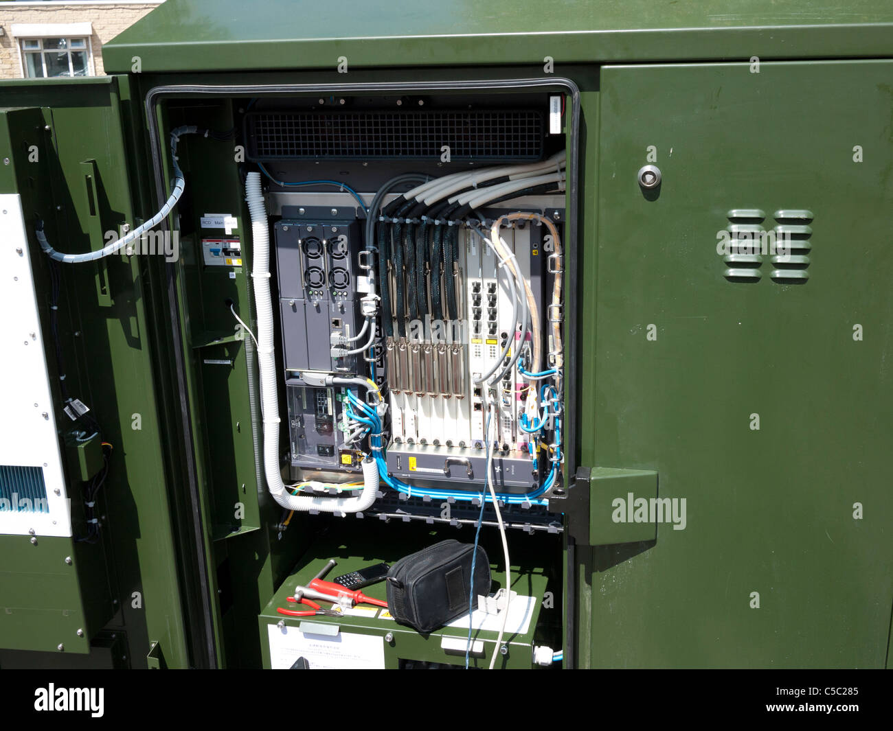 Broadband Fibre Optics junction box, England, UK. - Stock Image