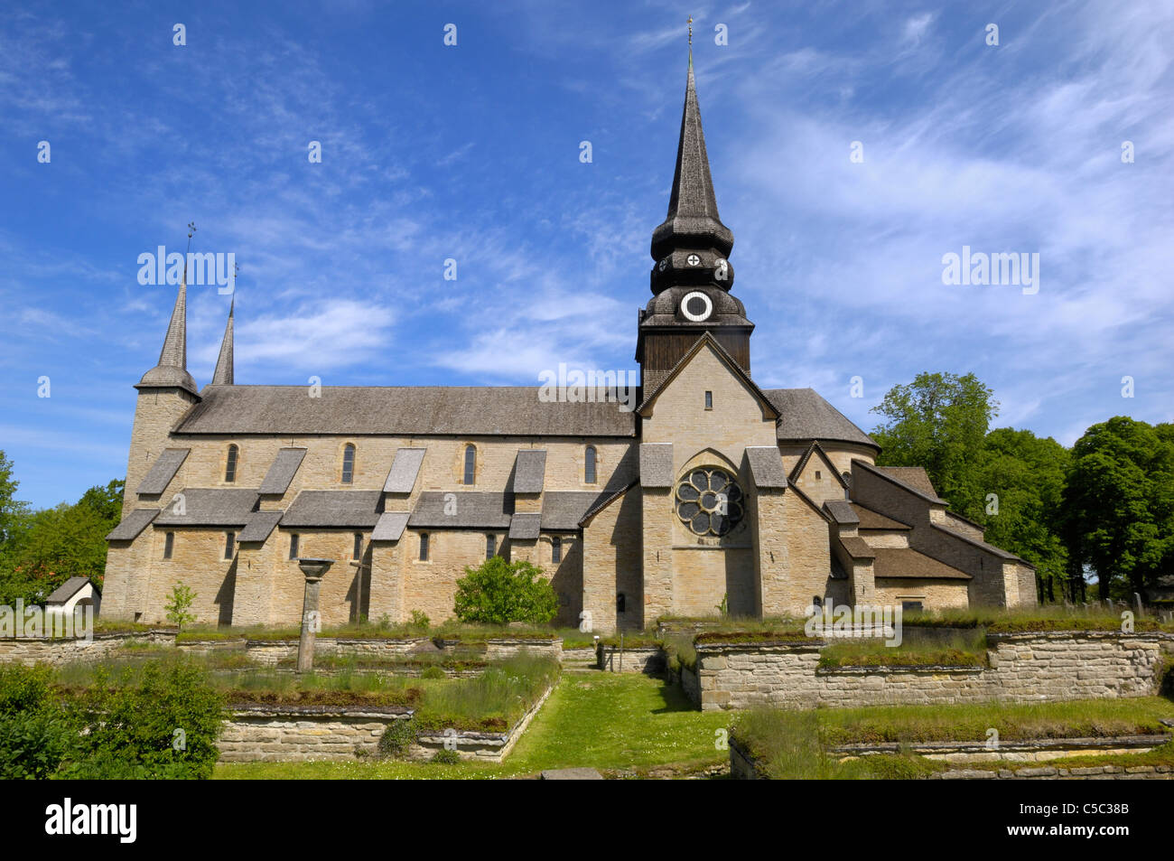 Façade of Varnhem abbey against the blue sky - Stock Image