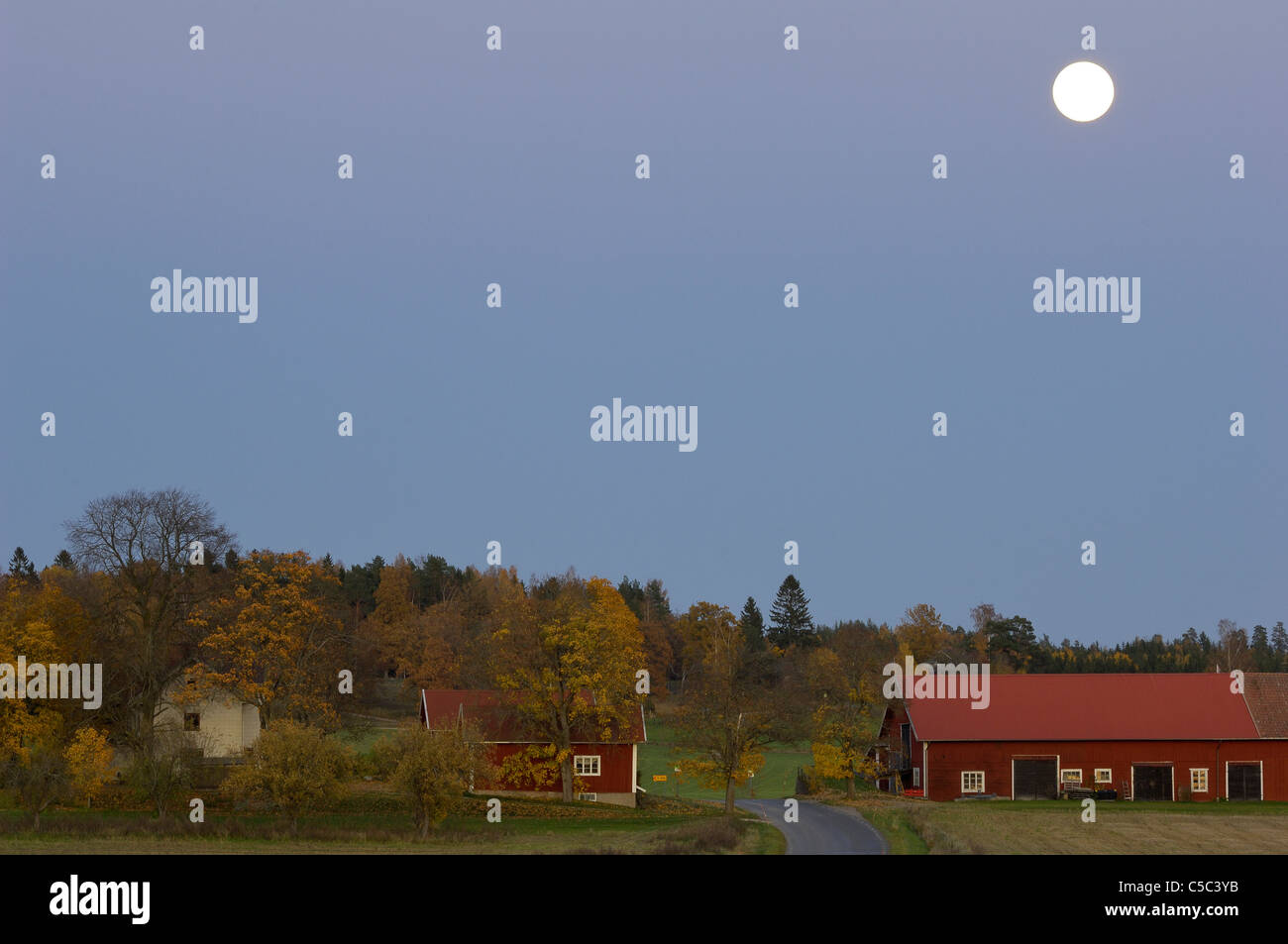 Farms and country houses below a full moon on clear sky - Stock Image