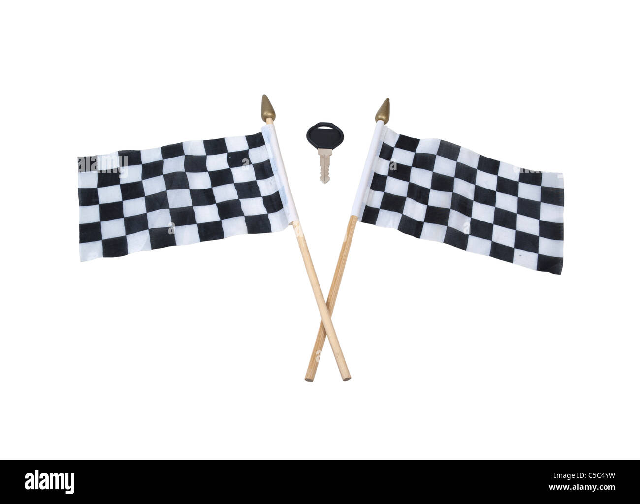 Crossing the finish line shown by an automobile key and checkered flags that symbolize the finish line - path included - Stock Image