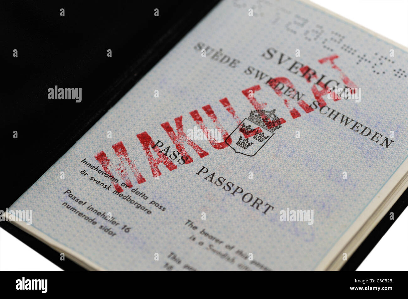 Close-up of a canceled passport - Stock Image