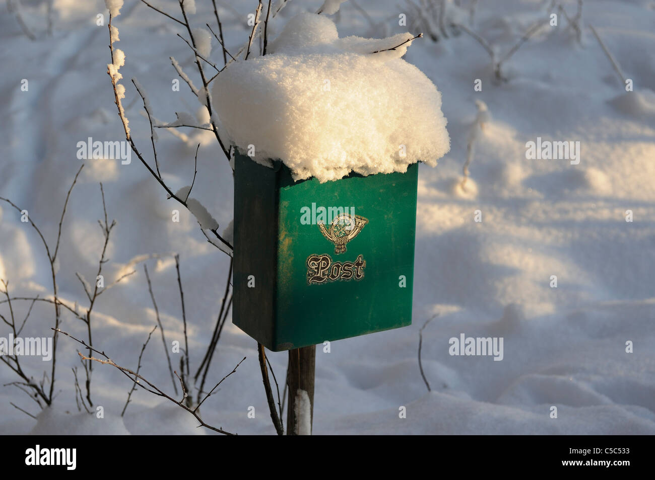Close-up of snowed mailbox - Stock Image