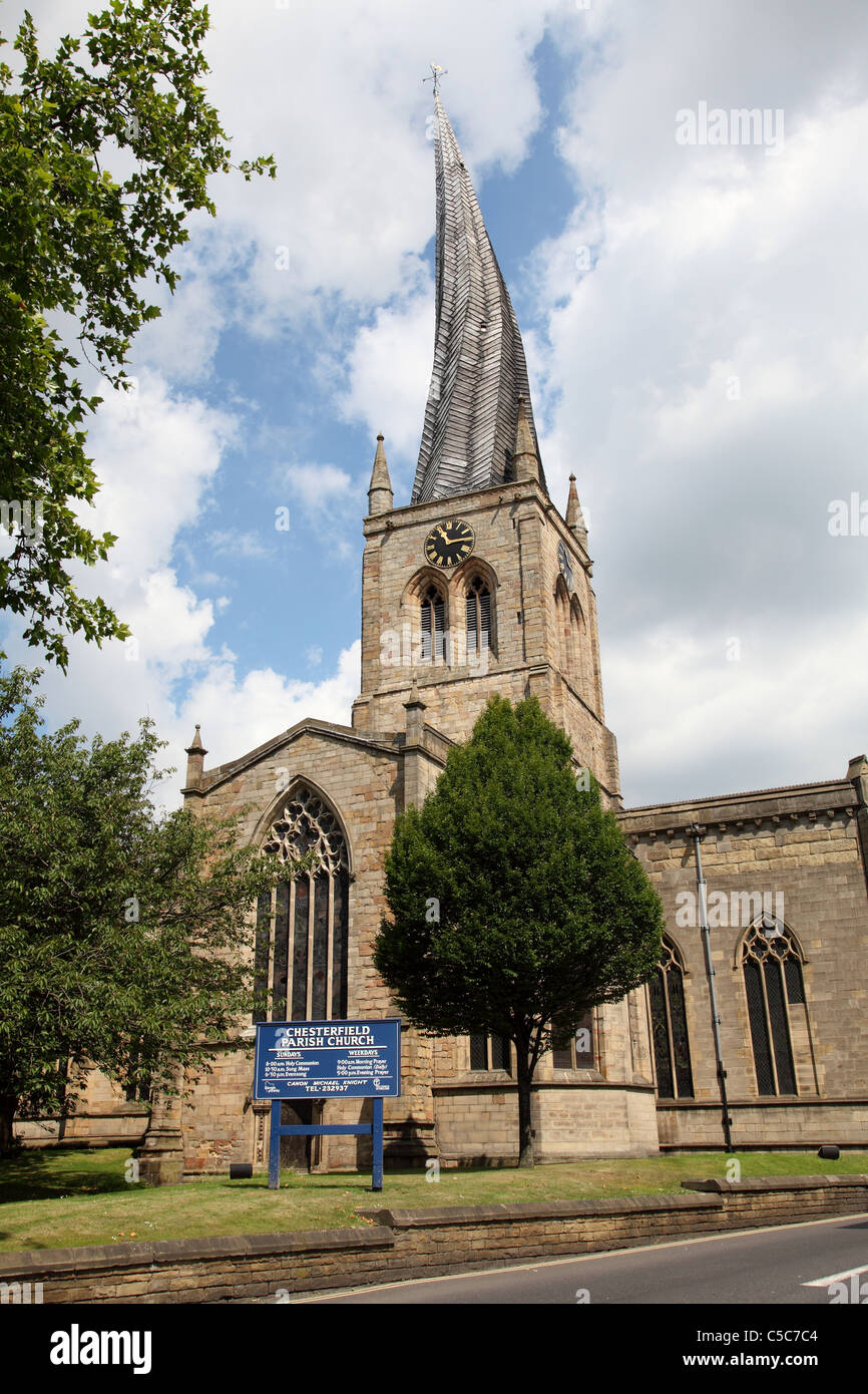 Chesterfield parish church of St Mary's with crooked spire in Chesterfield, England, U.K. - Stock Image