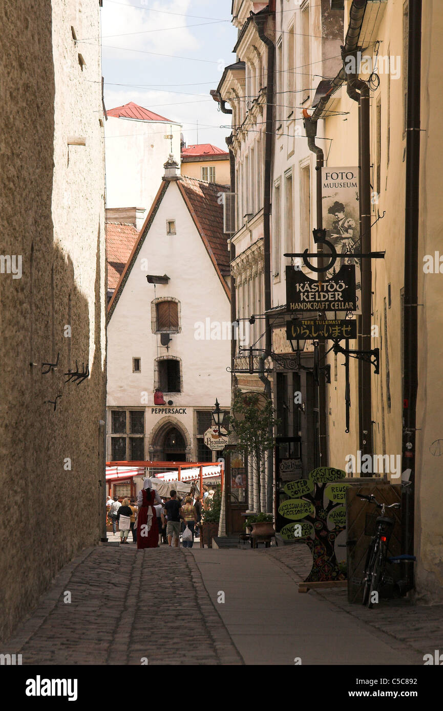 Narrow cobbled street in the Old Town, Tallinn, Estonia Stock Photo