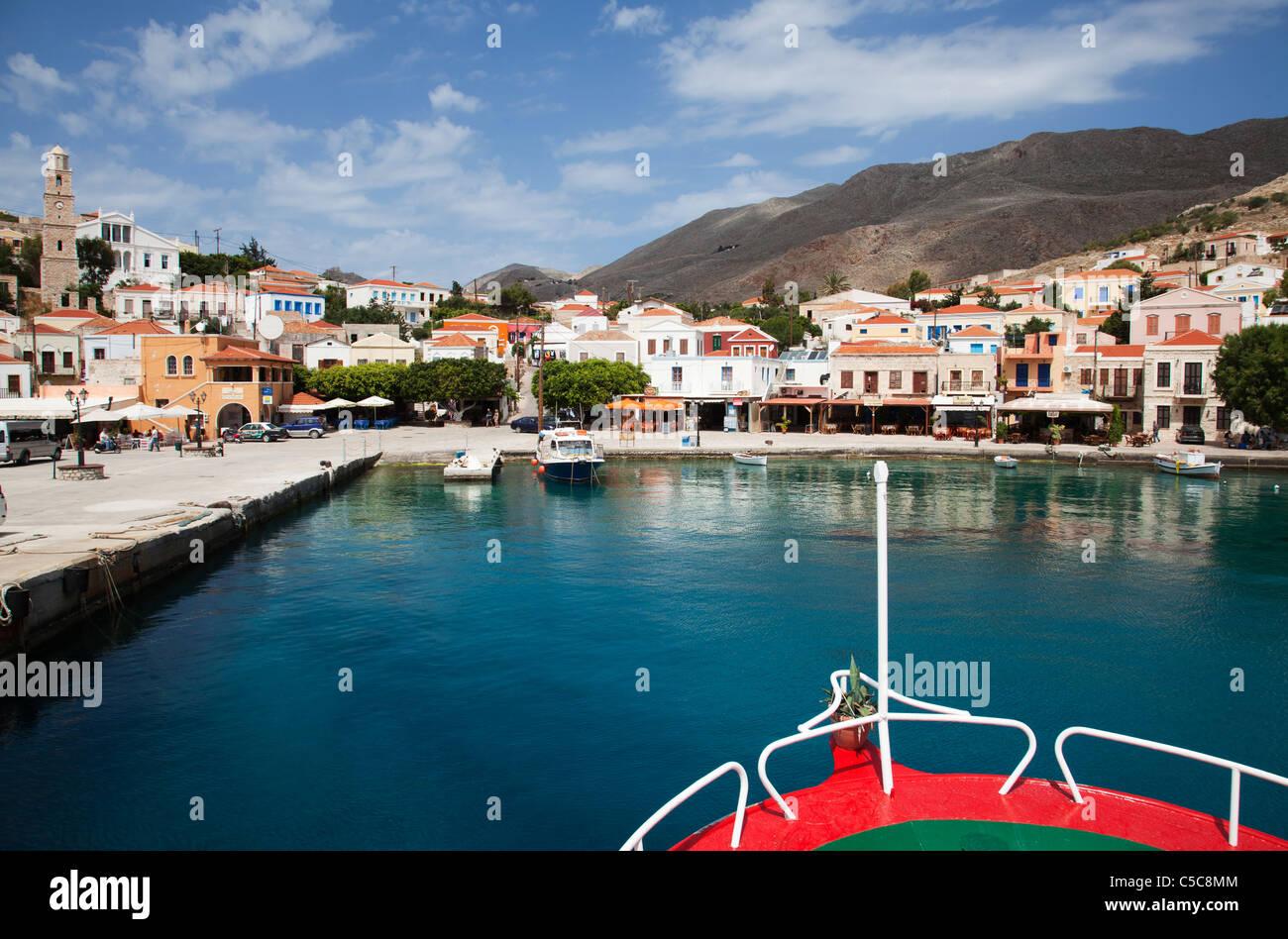 Greece island of Chalki Halki harbour - Stock Image