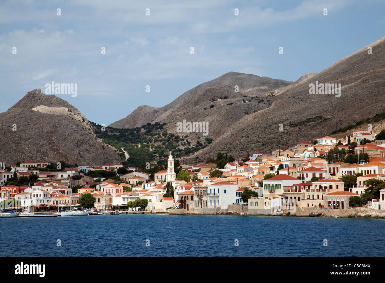 Greece island of Chalki Halki - Stock Image