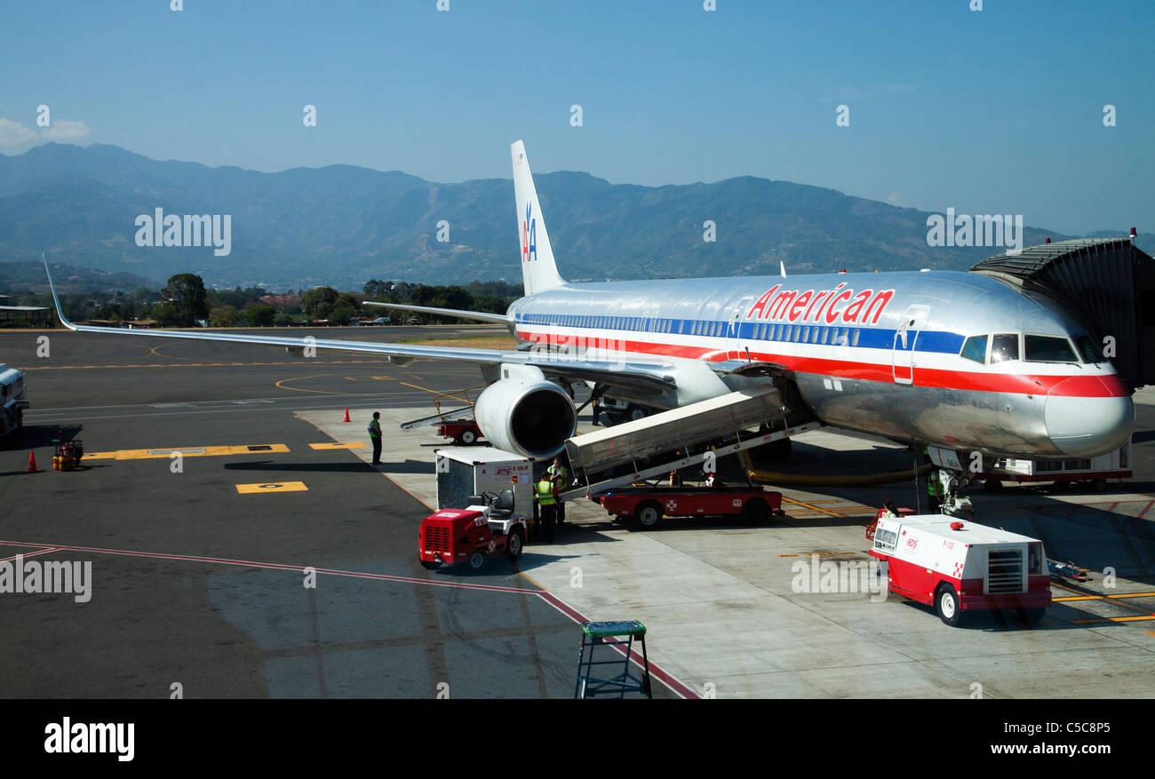 Costa Rica avaiation flight airports aeroplane Juan Santa Maria international airport - Stock Image