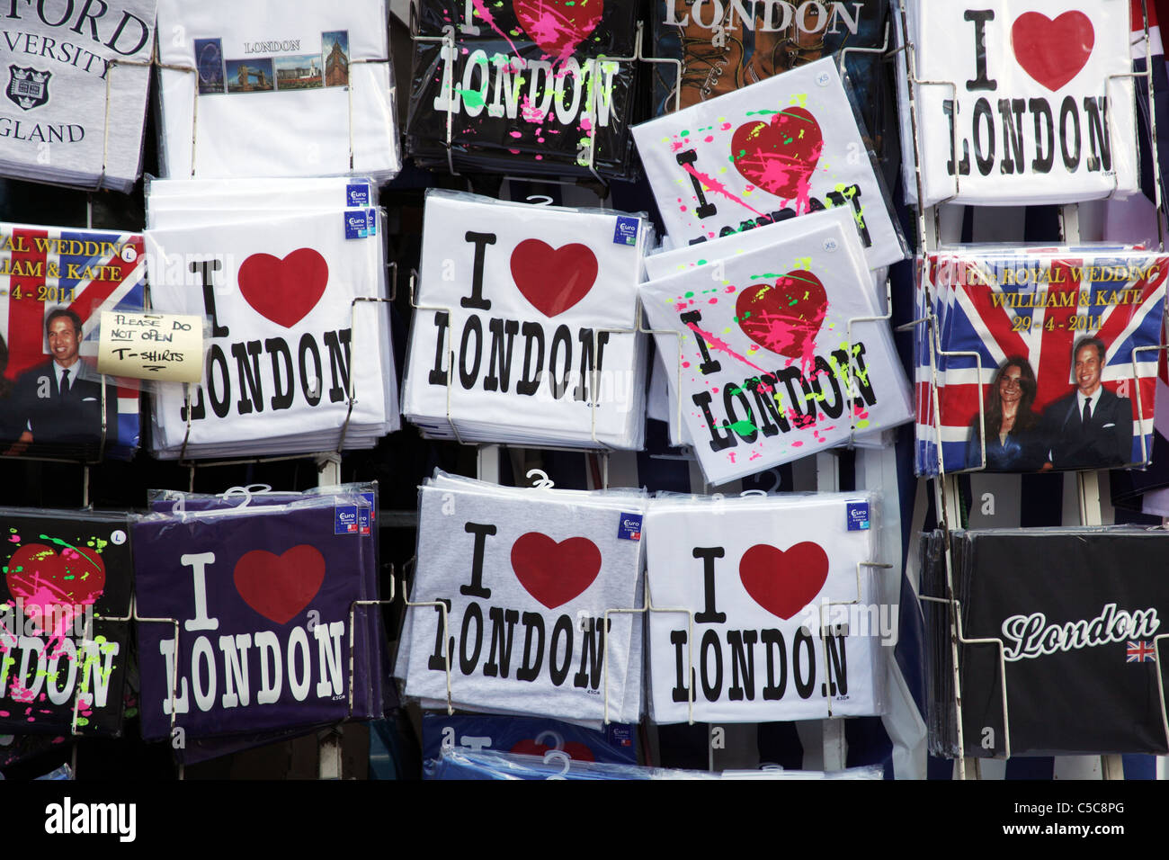 Covent Garden, London; Street Stall Selling I Love London Tee-shirts - Stock Image