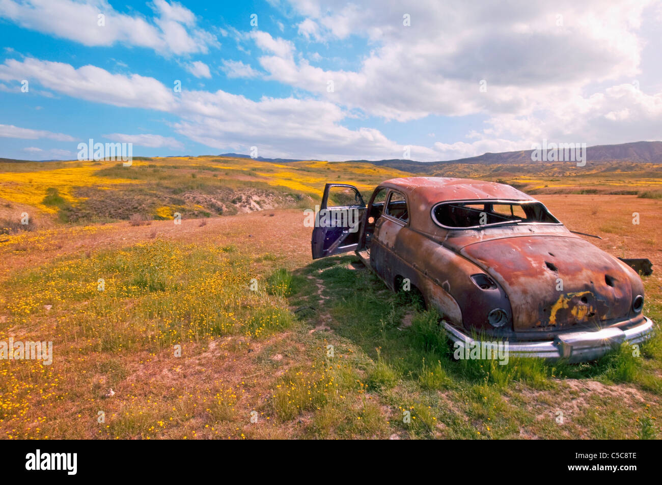 An Abandoned Car In The Carrizo Plains National Monument; Mariposa, California, United States Of America - Stock Image