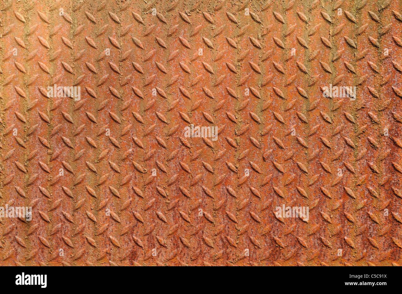 Texture of a grunge metal diamond plate. - Stock Image