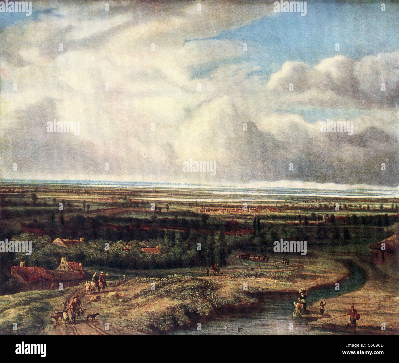 Painting by Philips de Koninck, Late Dutch School; 'Landscape, a View in Holland', Oil on Canvas - Stock Image
