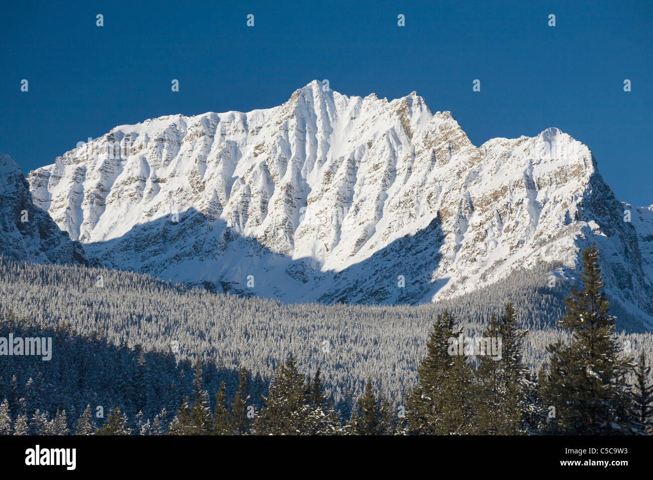 Snow-Capped Mountain; Banff, Alberta, Canada - Stock Image