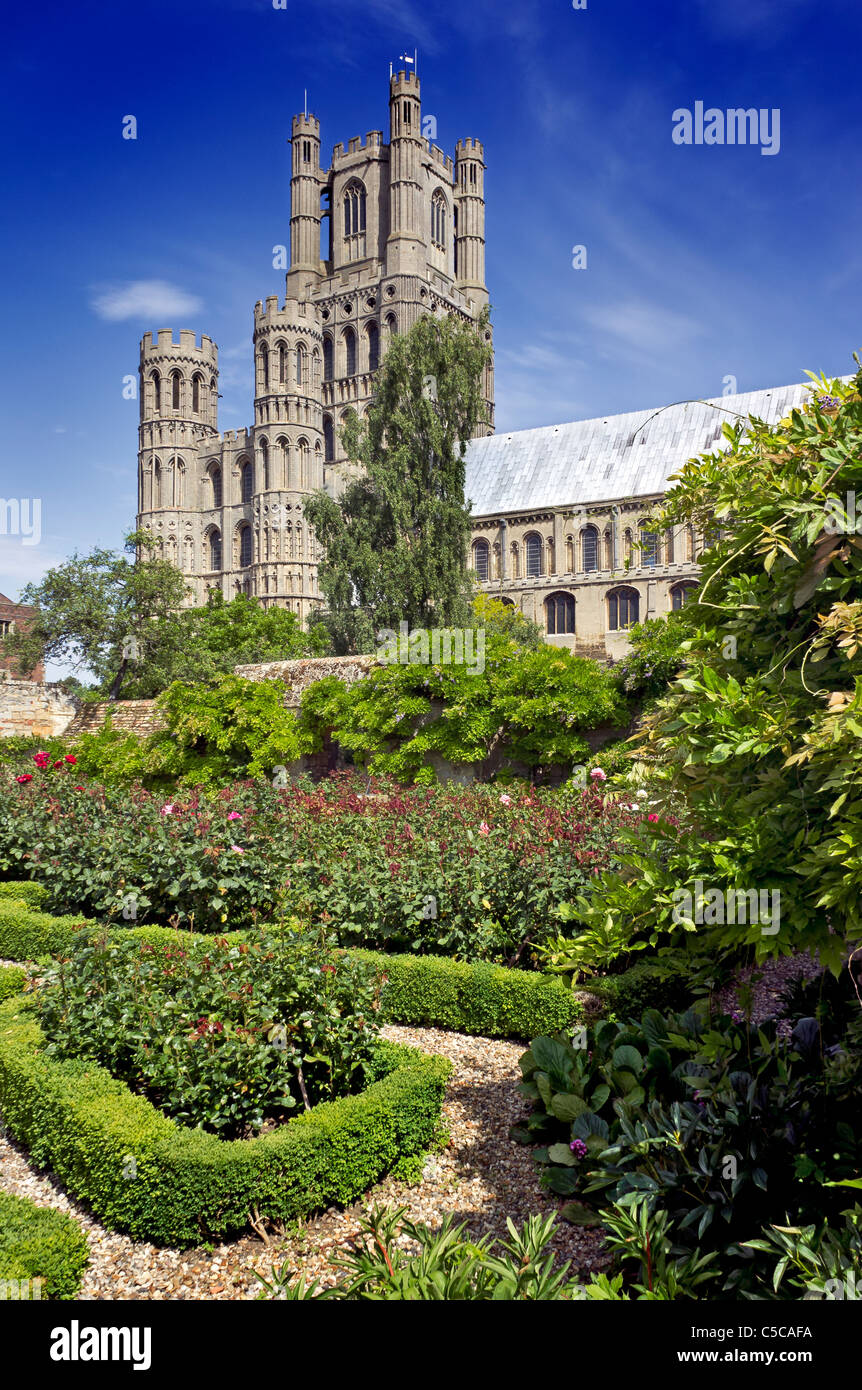 Ely Cathedral with formal house garden in the foregound - Stock Image