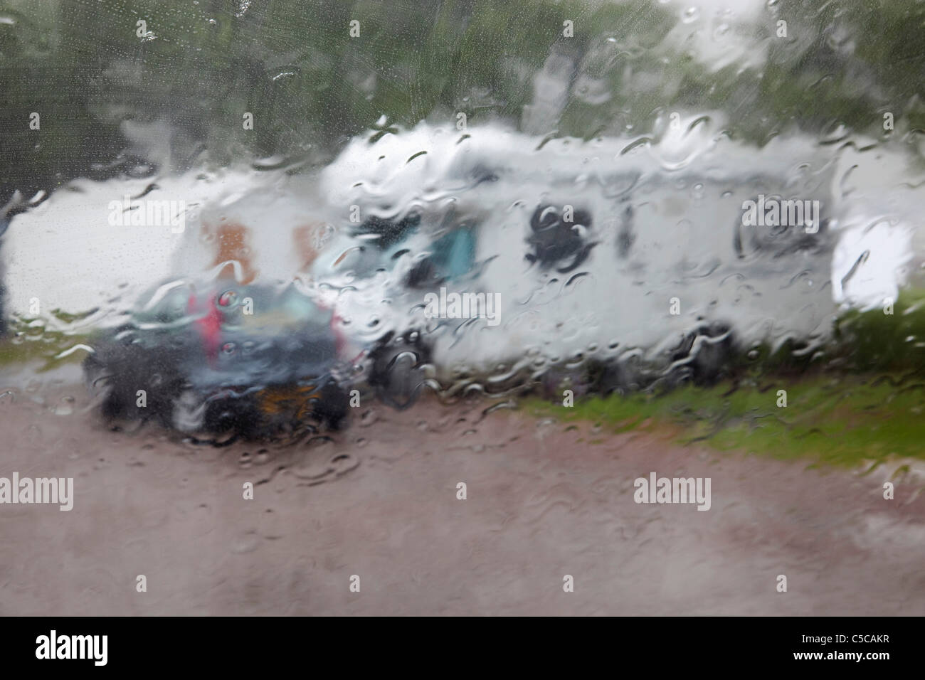 Raining on a camp site; Mull; Scotland - Stock Image