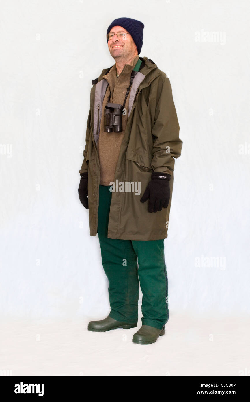 Winter birding outfit; male - Stock Image