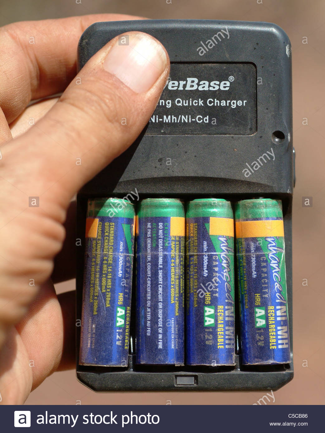 Camping equipment used by explorer Kypros in Africa - battery charger Stock Photo