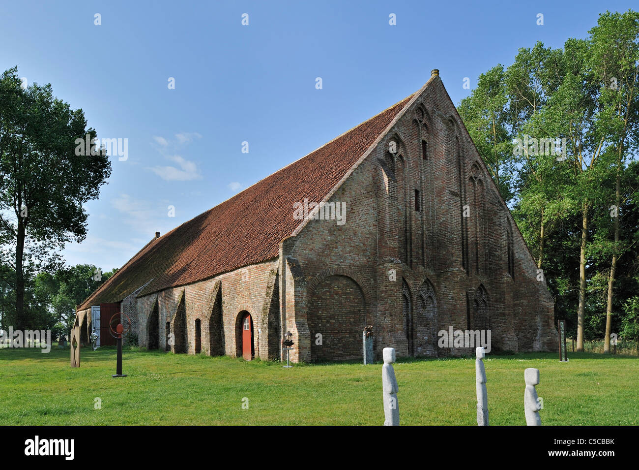 Ter Doest barn of the Cistercian abbey farm, Lissewege in West Flanders, Belgium Stock Photo