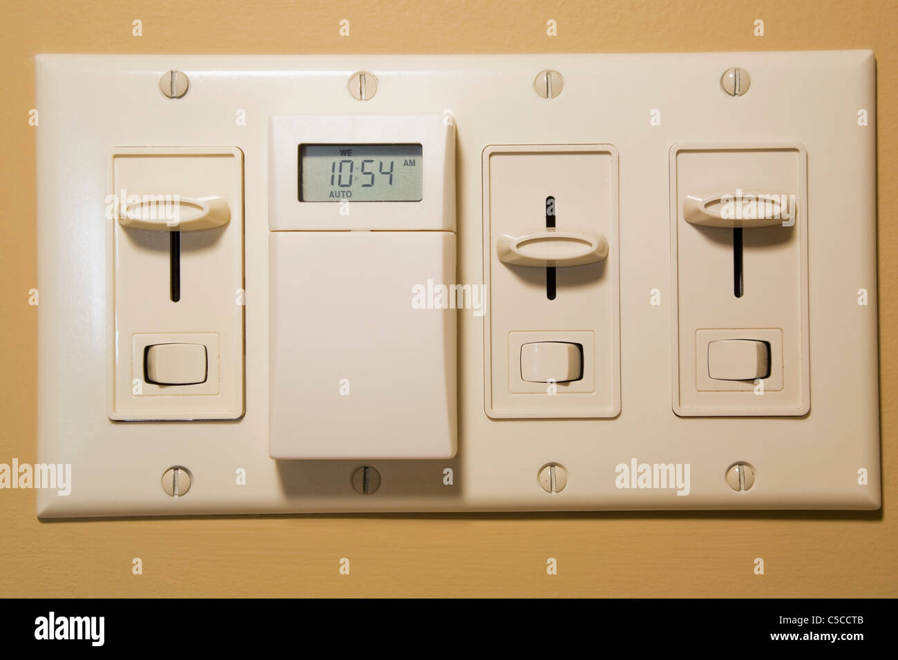 Close-Up Of Electrical Wall Switches Inside A Residential Home Stock ...