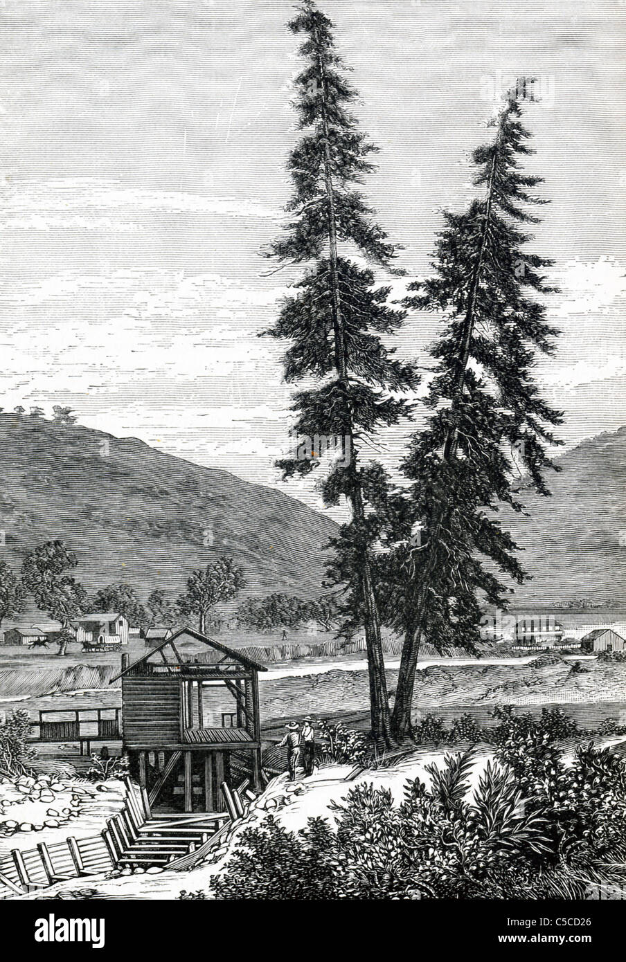 Sutter's Mill was also called Hoch Farm and it stood in the area of what is today Sacramento, California. - Stock Image