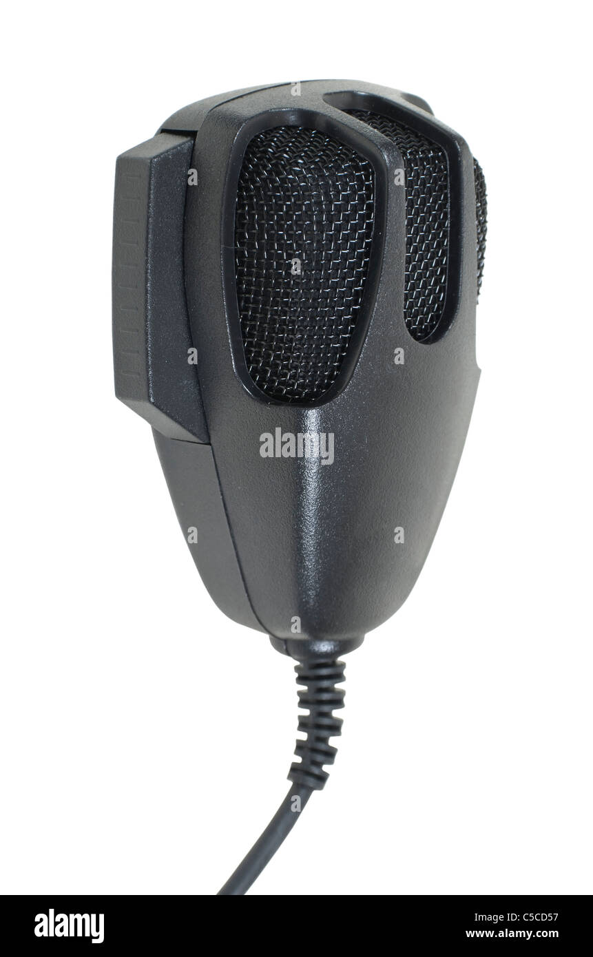 Microphone used to communicate via citizen band radio - path included Stock Photo