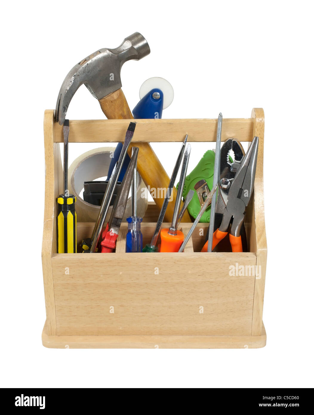Sturdy wooden toobox filled with tools ready to be used - path included - Stock Image