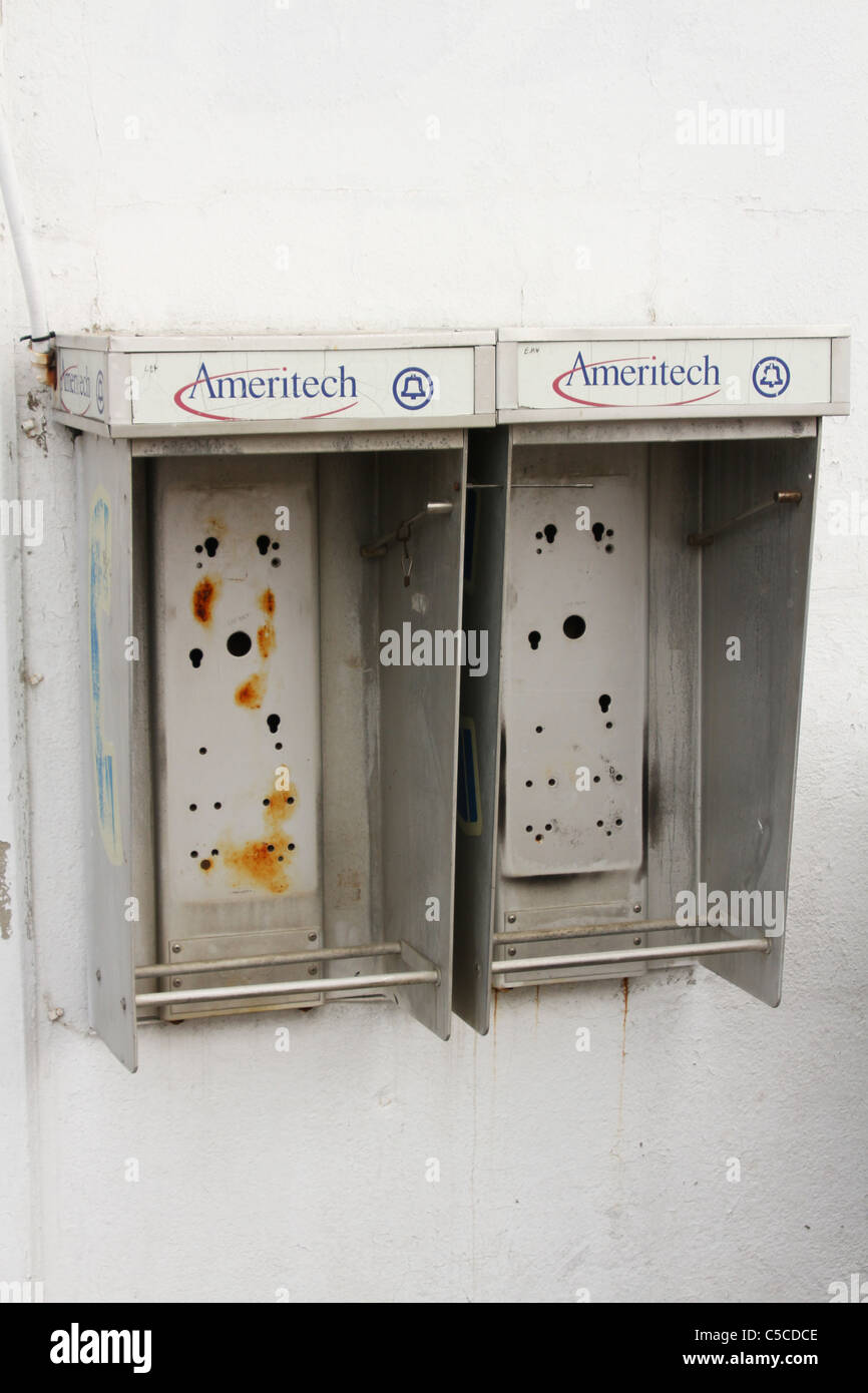 Ameritech Telephones Removed. A sign of the times. Canfield Fair. Mahoning County Fair. Canfield, Ohio, USA. - Stock Image