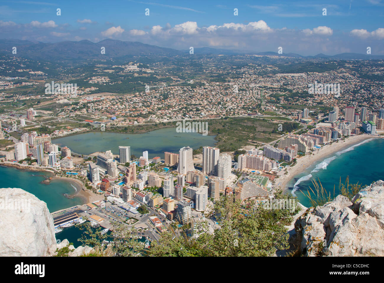 View on Calpe from the Ifach rock Stock Photo