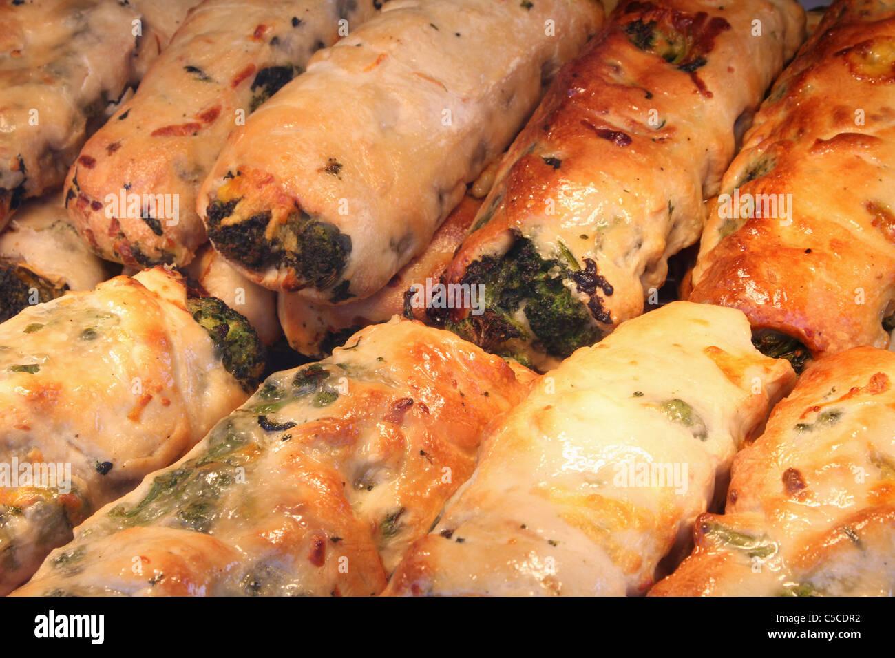 Stromboli. An Italian food. Canfield Fair. Mahoning County Fair. Canfield, Ohio, USA. Stock Photo