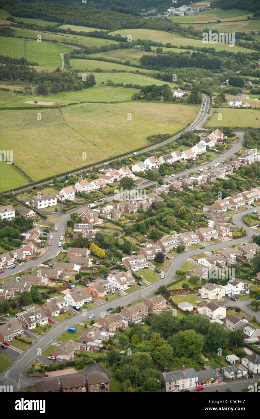 Suburban houses homes properties Aberystwyth, Ceredigion west wales uk from the air - Stock Image