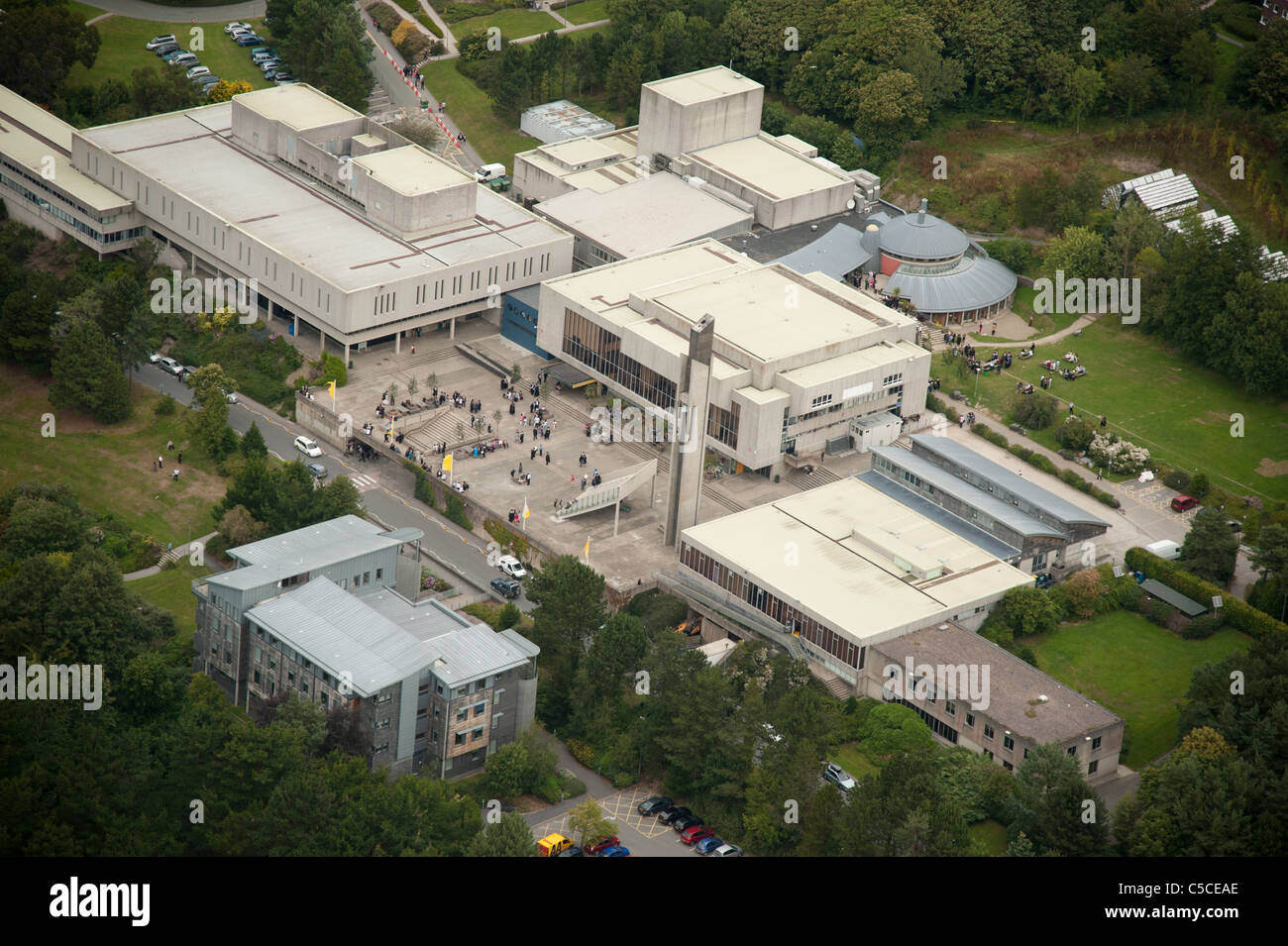 Aberystwyth Arts Centre and university campus , Ceredigion west wales uk from the air Stock Photo
