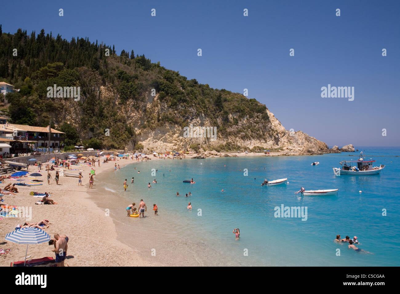 Greece Ionian islands Lefkada Aghios Nikitas Stock Photo