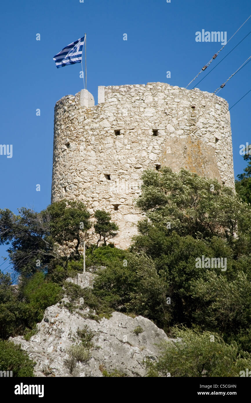 Greece Ionian islands Ithaca Vathy old windmill - Stock Image