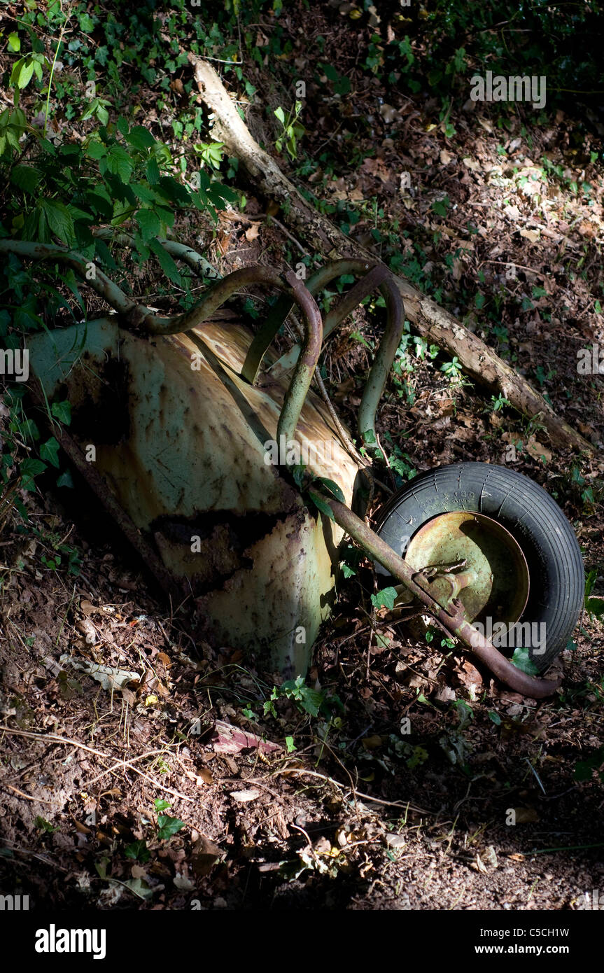 old wheelbarrows in woods - Stock Image