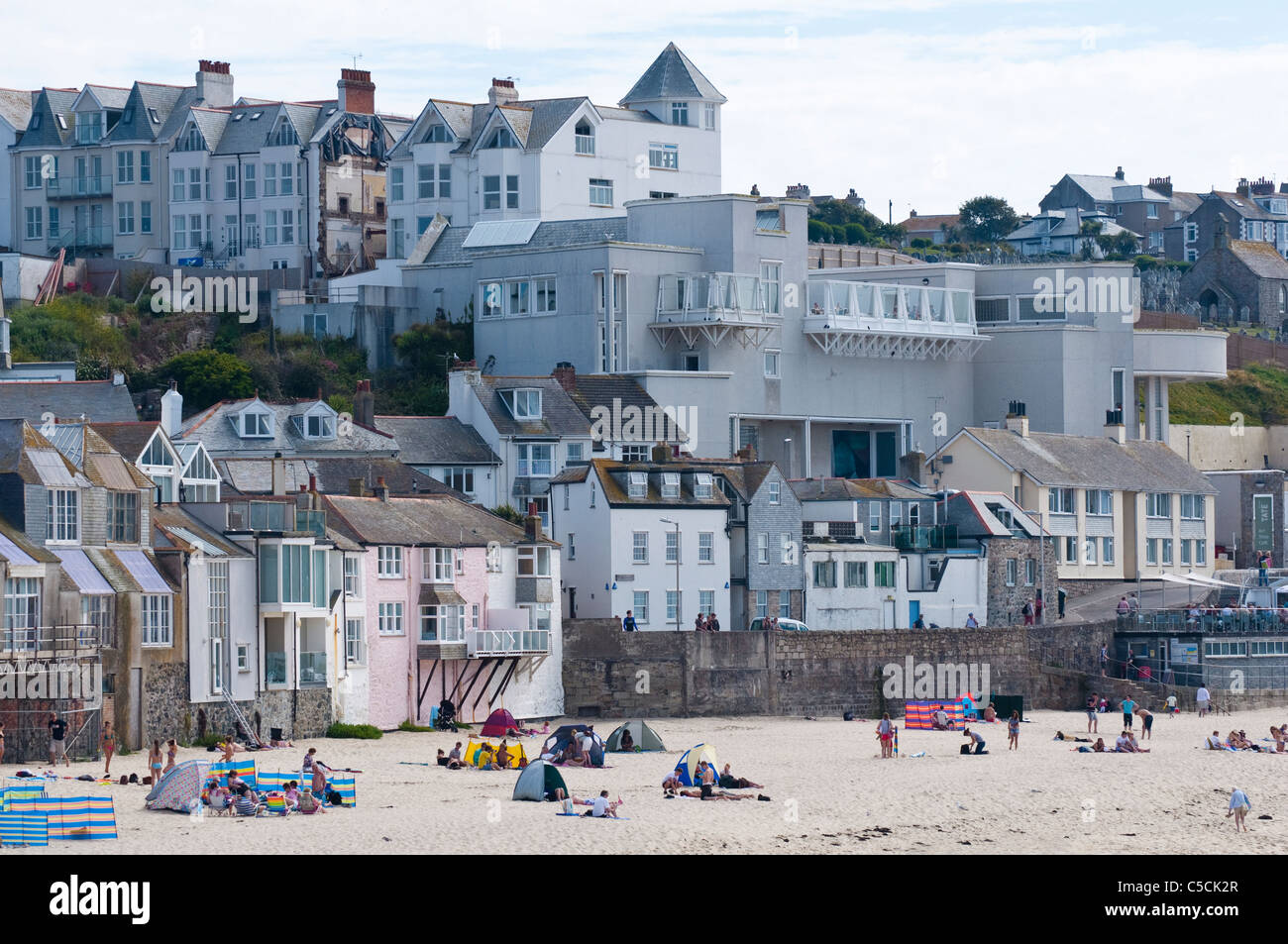 The Tate at St Ives - regional art gallery overlooking Porthmeor Beach, Cornwall. UK Stock Photo