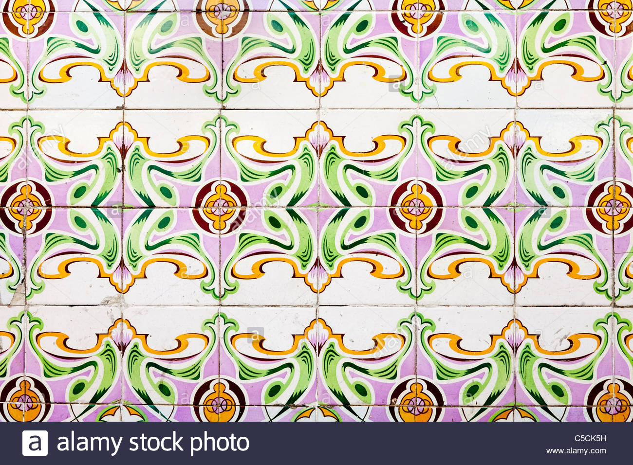 Hand painted Azulejo tiles imported from Portugal on a building in Iquitos, Loreto, Peru - Stock Image
