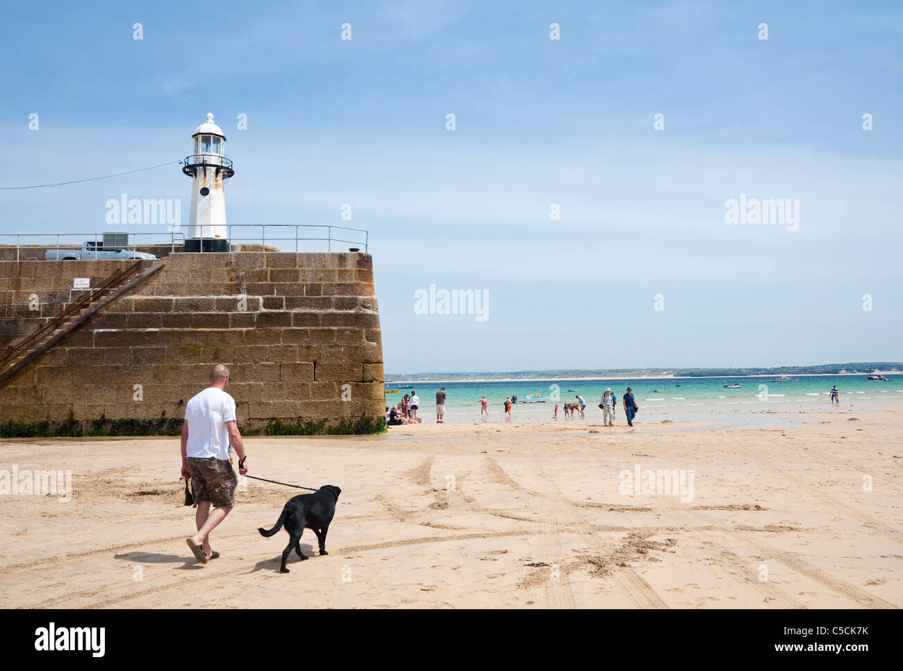 Dog walker, with black labrador - St Ives harbour beach at low tide, with Smeaton Pier / lighthouse as a backdrop. - Stock Image
