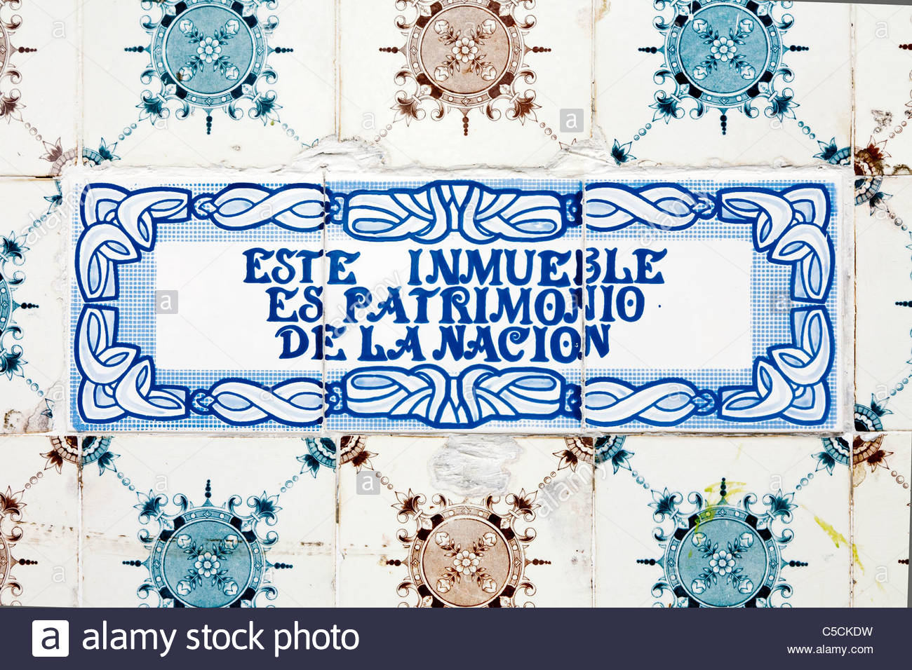 Hand-painted Azulejos tiles marking a historic building, Iquitos, Loreto, Peru - Stock Image