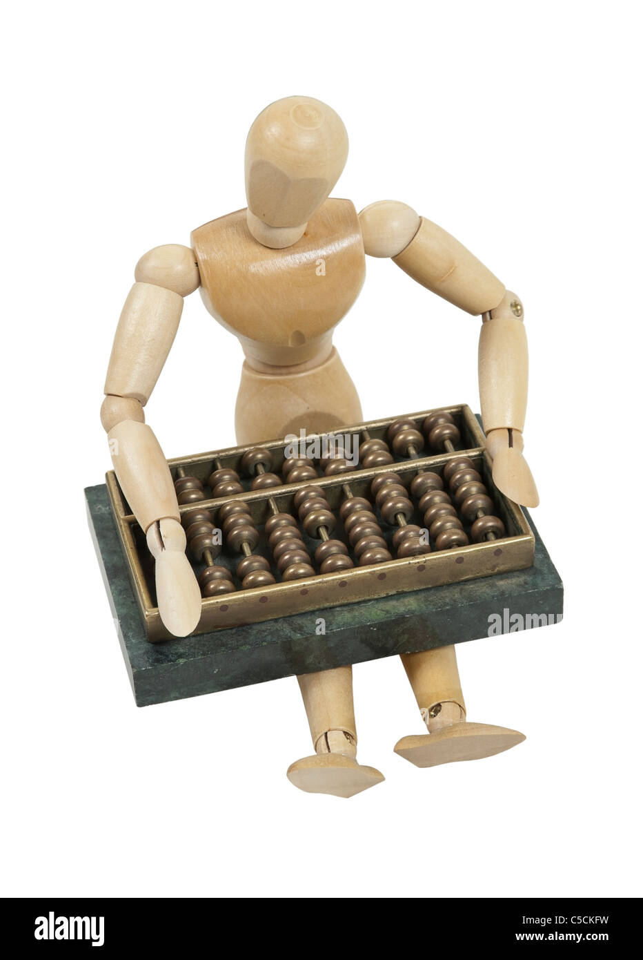 Making calculations on an abacus counting system with beads and posts - path included Stock Photo