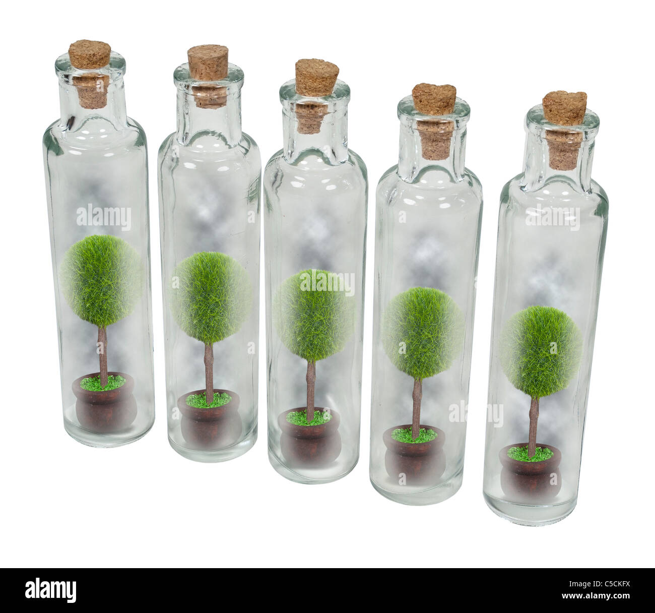 Nature preserved in jars shown by trees in individual tall thin glass bottles with cork stoppers - path included - Stock Image