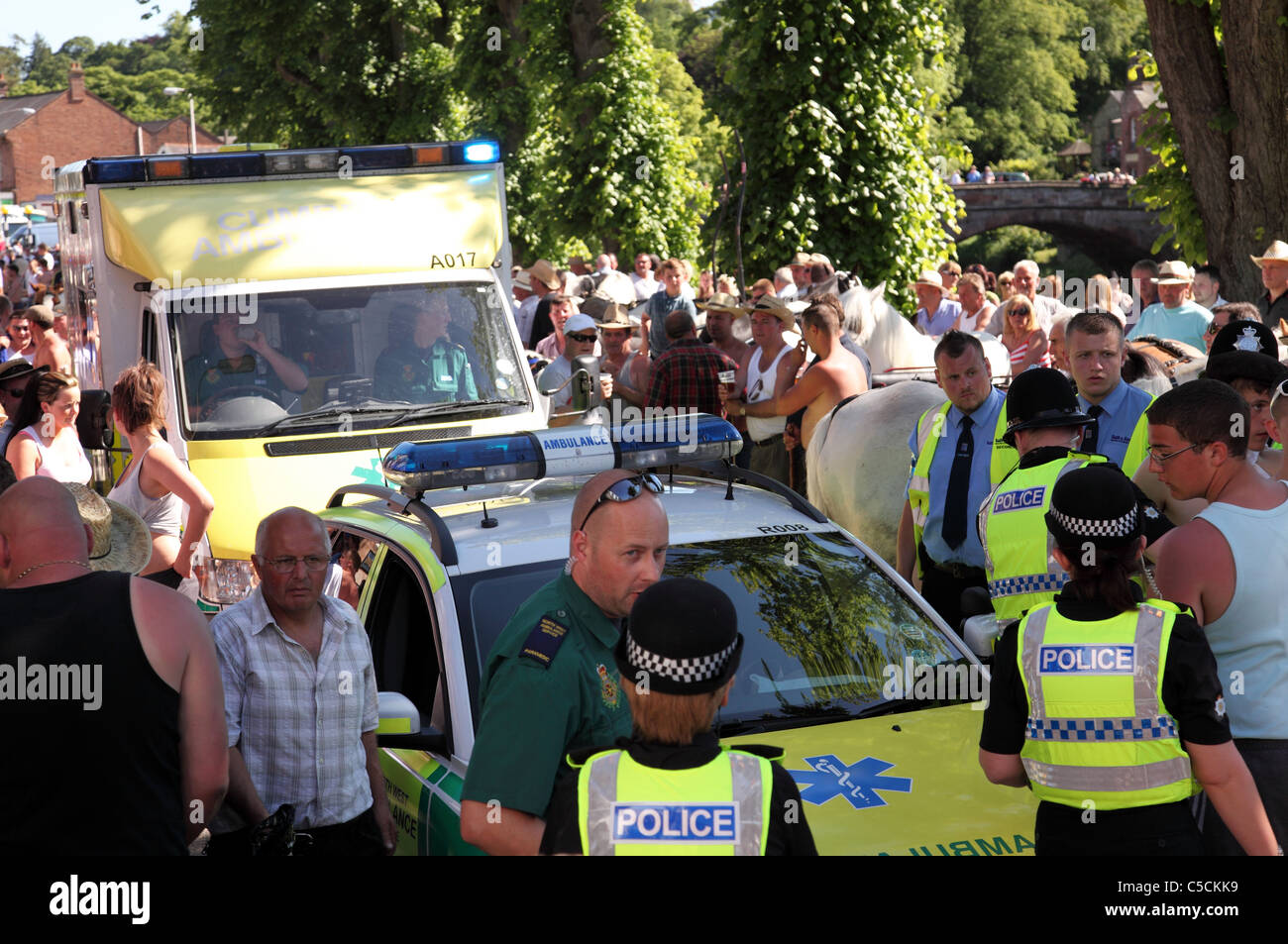 The emergency services at an incident at the Appleby Horse Fair in Appleby-In-Westmorland, Cumbria, England, U.K. - Stock Image