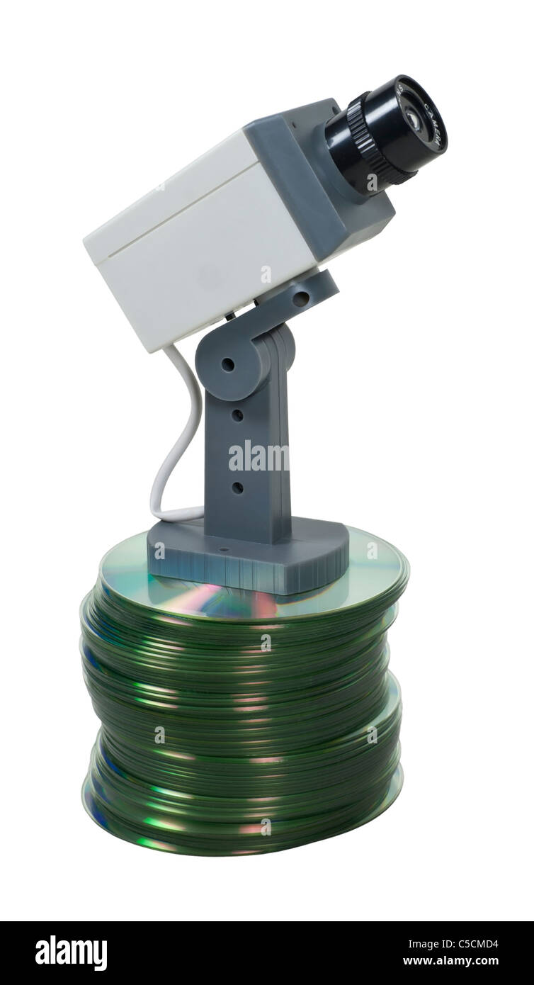 Information security shown by a security camera on a large stack of disks - path included Stock Photo